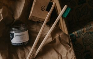 Bamboo toothbrush and charcoal toothpaste